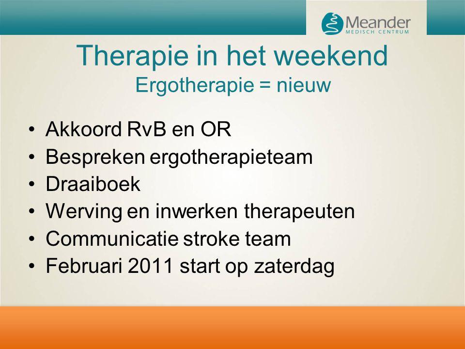 Therapie in het weekend Ergotherapie = nieuw Akkoord RvB en OR Bespreken ergotherapieteam Draaiboek Werving en inwerken therapeuten Communicatie strok
