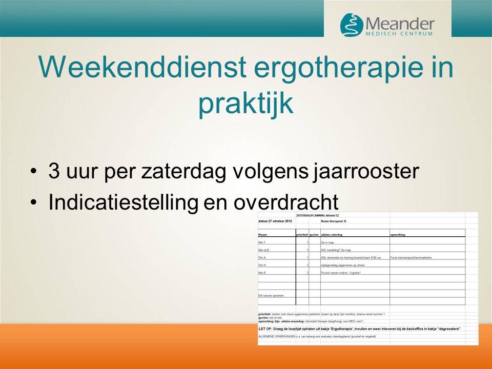 Weekenddienst ergotherapie in praktijk 3 uur per zaterdag volgens jaarrooster Indicatiestelling en overdracht