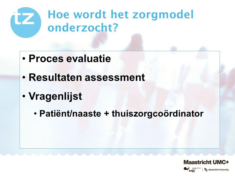 Hoe wordt het zorgmodel onderzocht? Proces evaluatie Resultaten assessment Vragenlijst Patiënt/naaste + thuiszorgcoördinator