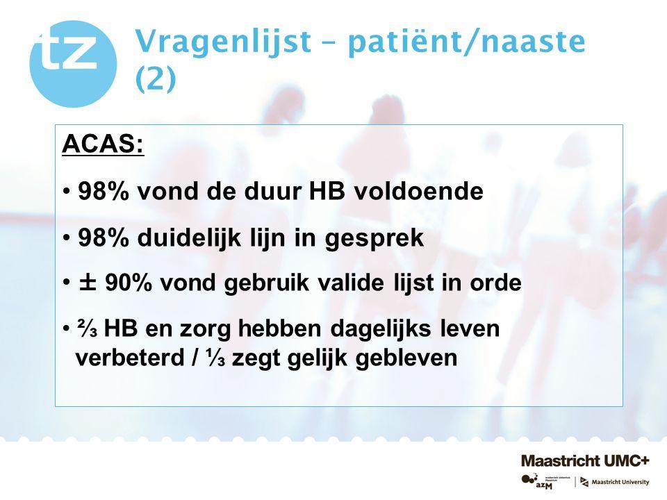 Vragenlijst – patiënt/naaste (2) ACAS: 98% vond de duur HB voldoende 98% duidelijk lijn in gesprek ± 90% vond gebruik valide lijst in orde ⅔ HB en zor