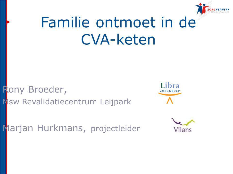 Familie ontmoet in de CVA-keten Rony Broeder, Msw Revalidatiecentrum Leijpark Marjan Hurkmans, projectleider