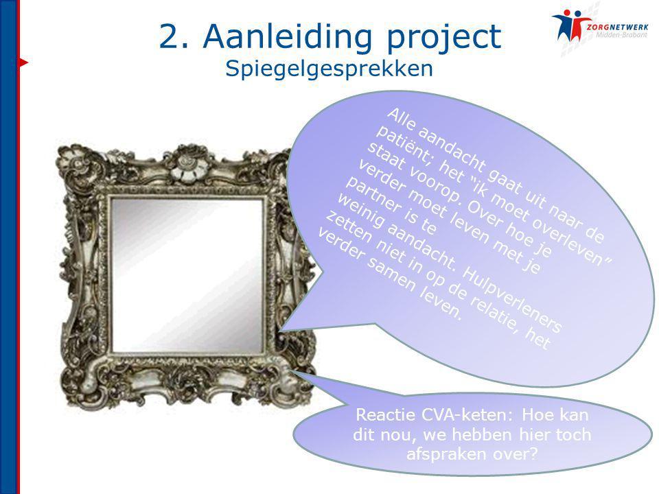 """2. Aanleiding project Spiegelgesprekken Alle aandacht gaat uit naar de patiënt; het """"ik moet overleven"""" staat voorop. Over hoe je verder moet leven me"""