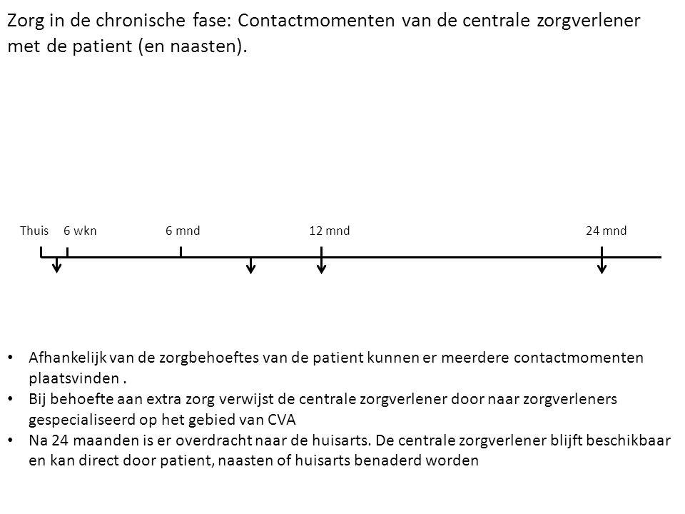 Zorg in de chronische fase: Contactmomenten van de centrale zorgverlener met de patient (en naasten). Thuis 6 wkn 6 mnd 12 mnd 24 mnd Afhankelijk van