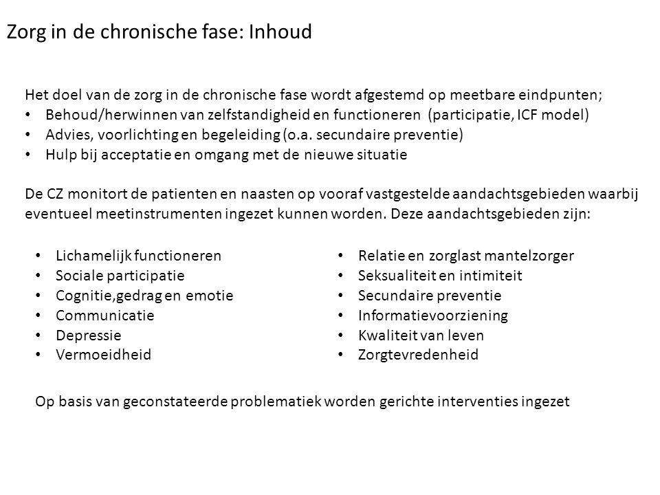 Zorg in de chronische fase: Inhoud Het doel van de zorg in de chronische fase wordt afgestemd op meetbare eindpunten; Behoud/herwinnen van zelfstandig