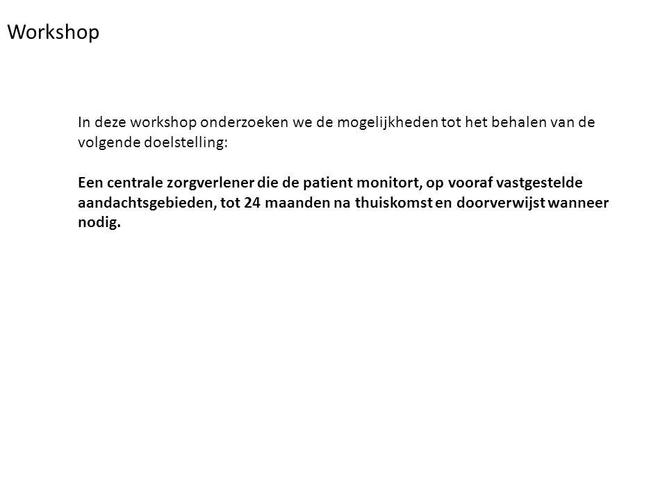Workshop In deze workshop onderzoeken we de mogelijkheden tot het behalen van de volgende doelstelling: Een centrale zorgverlener die de patient monit