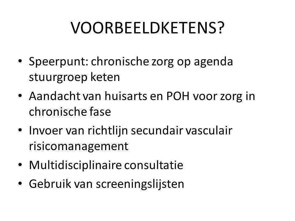 VOORBEELDKETENS? Speerpunt: chronische zorg op agenda stuurgroep keten Aandacht van huisarts en POH voor zorg in chronische fase Invoer van richtlijn