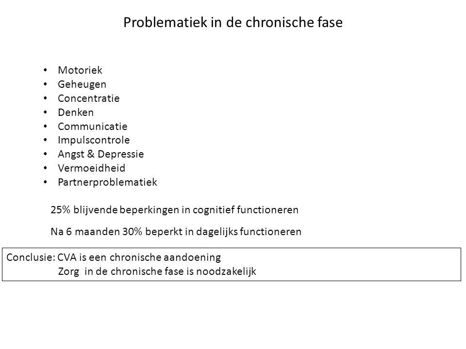 Problematiek in de chronische fase Motoriek Geheugen Concentratie Denken Communicatie Impulscontrole Angst & Depressie Vermoeidheid Partnerproblematie
