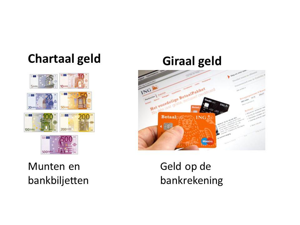 Chartaal geld Munten en bankbiljetten Giraal geld Geld op de bankrekening