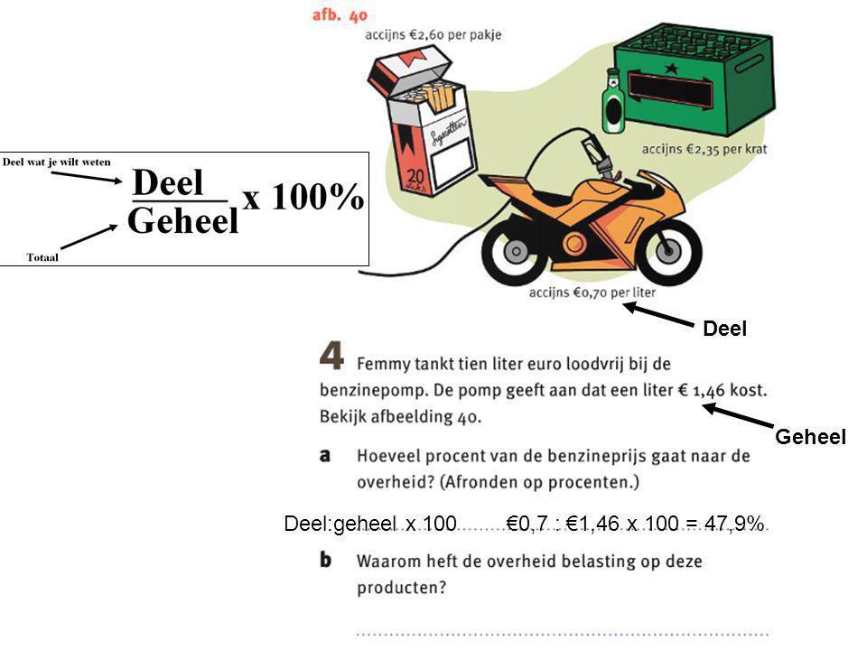 Deel:geheel x 100 €0,7 : €1,46 x 100 = 47,9% Deel Geheel