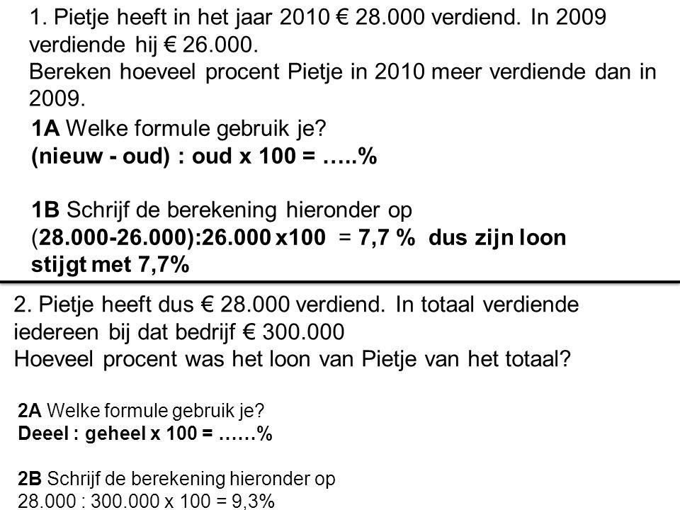 1A Welke formule gebruik je? (nieuw - oud) : oud x 100 = …..% 1B Schrijf de berekening hieronder op (28.000-26.000):26.000 x100 = 7,7 % dus zijn loon