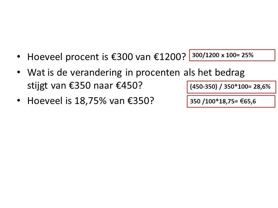 Hoeveel procent is €300 van €1200? Wat is de verandering in procenten als het bedrag stijgt van €350 naar €450? Hoeveel is 18,75% van €350? 300/1200 x