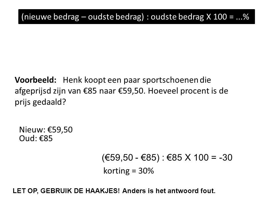 Voorbeeld: Henk koopt een paar sportschoenen die afgeprijsd zijn van €85 naar €59,50.