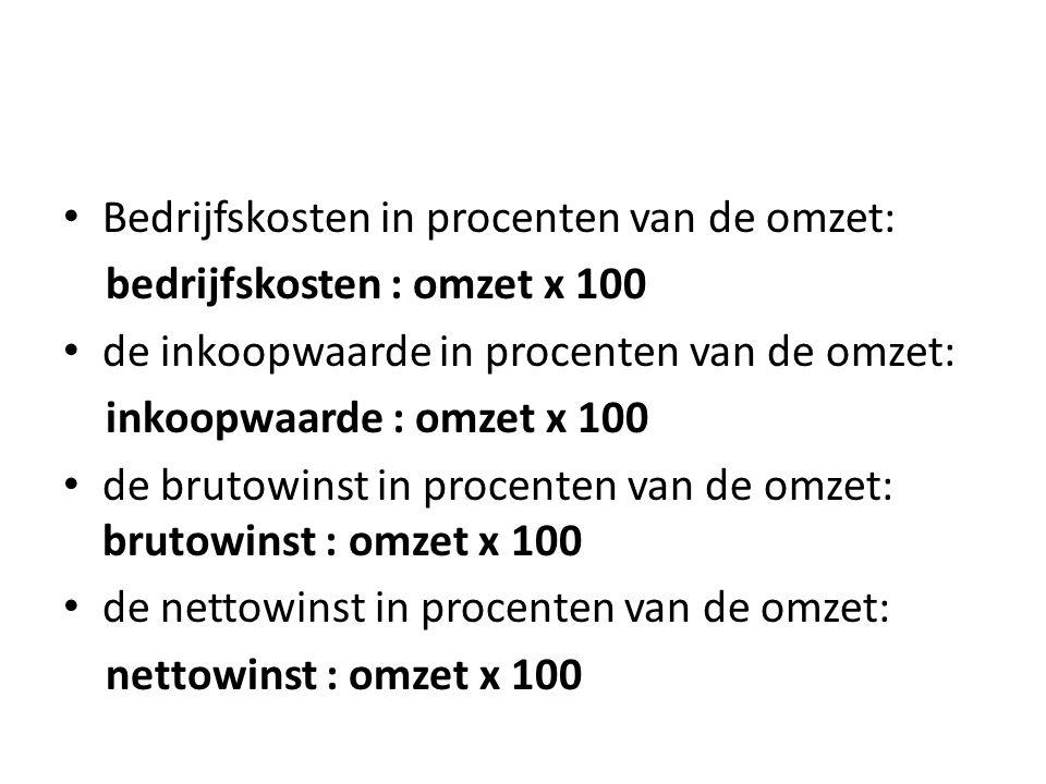 Brutowinst = omzet - inkoopwaarde Nettowinst = brutowinst - bedrijfskosten Omzet = de verkoopopbrengst in een bepaalde periode Nettowinst in procenten v/d omzet Bedrijfskosten in procenten v/d omzet Inkoopwaarde in procenten v/d omzet €55.000 : €220.000 x 100 = 25% €77.000 : €220.000 x 100 = 35% €88.000 : €220.000 x 100 = 40%