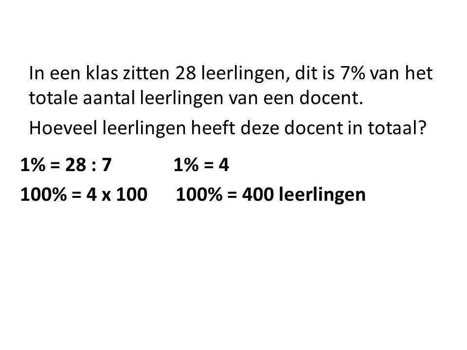 In een klas zitten 28 leerlingen, dit is 7% van het totale aantal leerlingen van een docent.