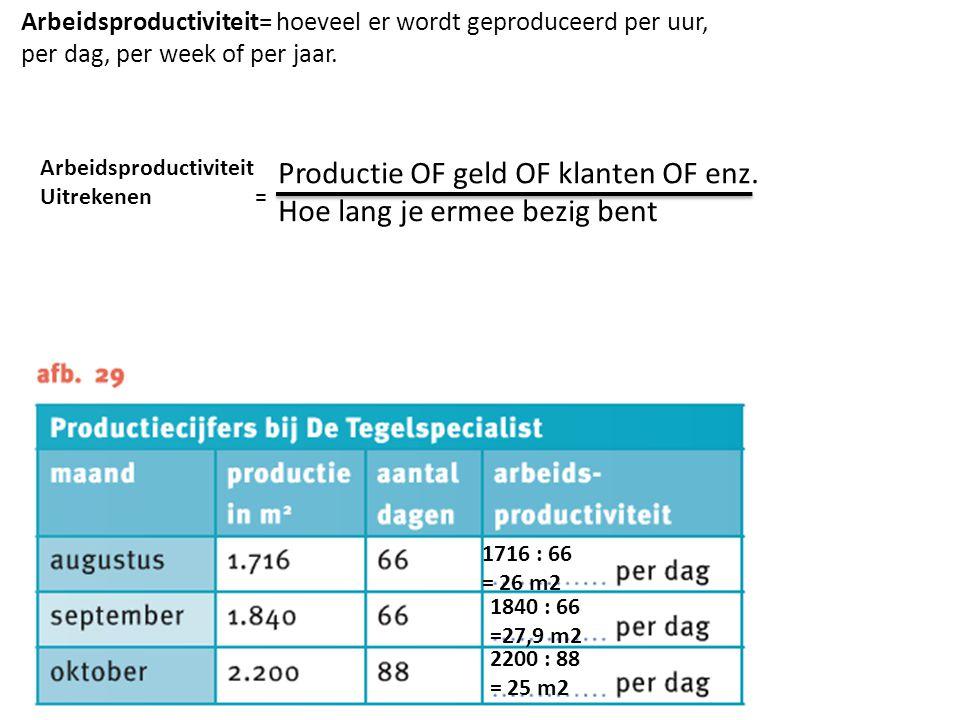 Arbeidsproductiviteit= hoeveel er wordt geproduceerd per uur, per dag, per week of per jaar.