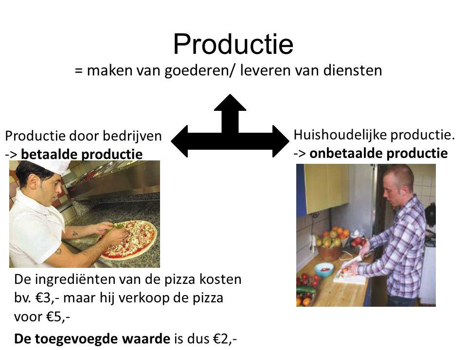 Productie = maken van goederen/ leveren van diensten Productie door bedrijven -> betaalde productie Huishoudelijke productie. -> onbetaalde productie