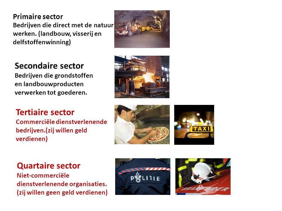Primaire sector Bedrijven die direct met de natuur werken. (landbouw, visserij en delfstoffenwinning) Secondaire sector Bedrijven die grondstoffen en