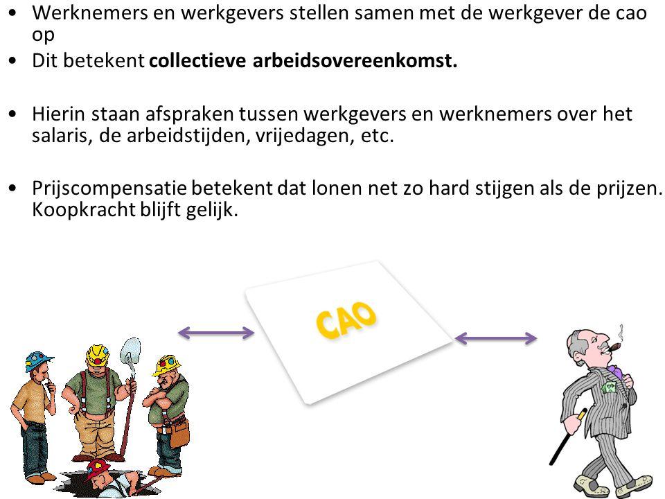Werknemers en werkgevers stellen samen met de werkgever de cao op Dit betekent collectieve arbeidsovereenkomst. Hierin staan afspraken tussen werkgeve