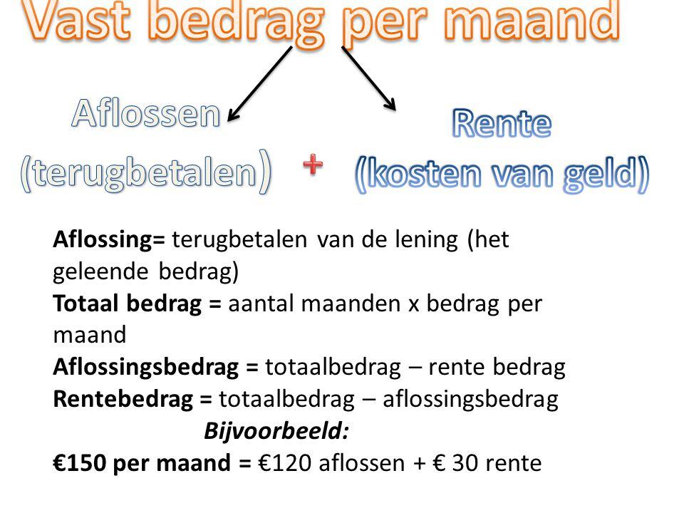 Aflossing= terugbetalen van de lening (het geleende bedrag) Totaal bedrag = aantal maanden x bedrag per maand Aflossingsbedrag = totaalbedrag – rente bedrag Rentebedrag = totaalbedrag – aflossingsbedrag Bijvoorbeeld: €150 per maand = €120 aflossen + € 30 rente