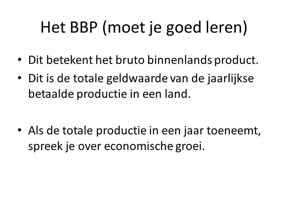 Het BBP (moet je goed leren) Dit betekent het bruto binnenlands product. Dit is de totale geldwaarde van de jaarlijkse betaalde productie in een land.