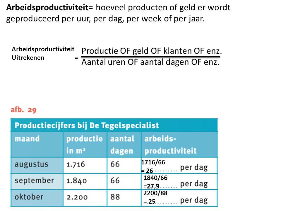 Arbeidsproductiviteit= hoeveel producten of geld er wordt geproduceerd per uur, per dag, per week of per jaar. Productie OF geld OF klanten OF enz. Aa