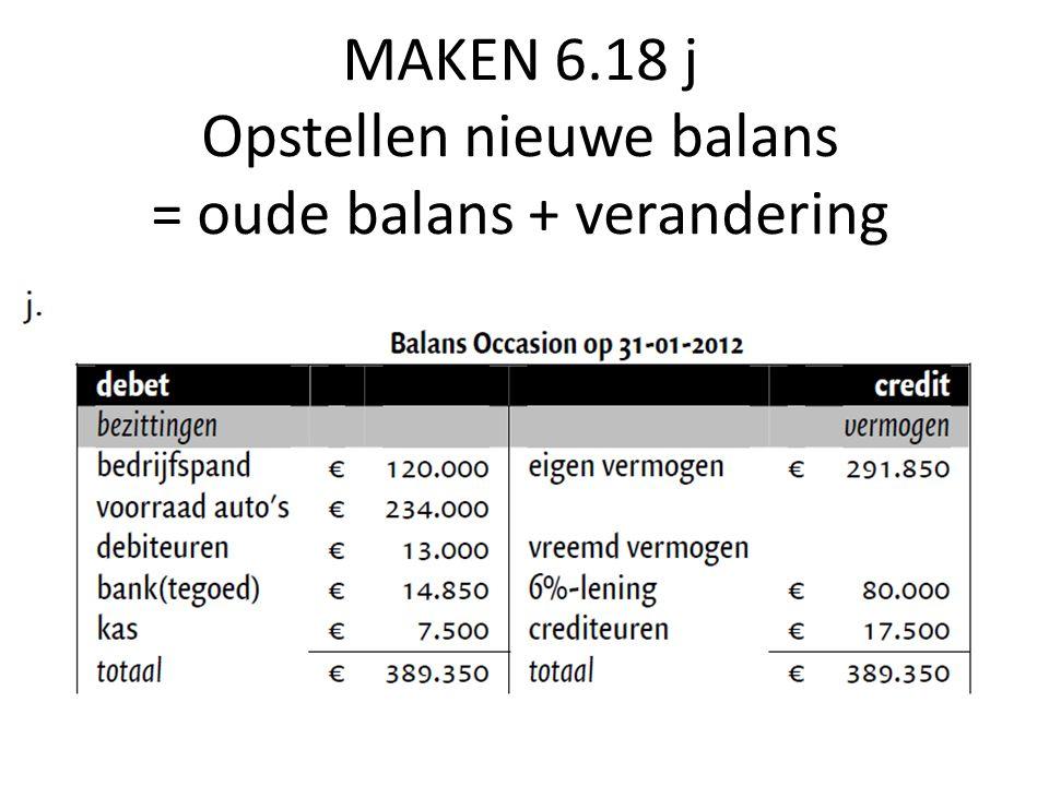 MAKEN 6.18 j Opstellen nieuwe balans = oude balans + verandering