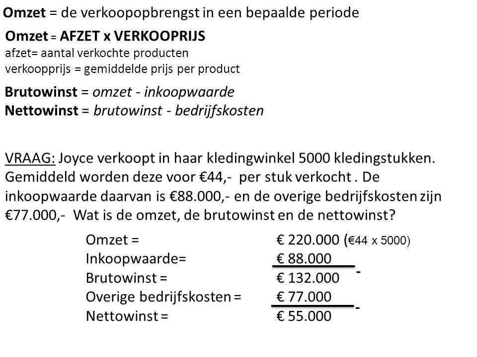€ 90 x 200 = €18.000 €72 per schoen x 200 schoenen = €14.400 Totale brutowinst = totale omzet – totale inkoopwaarde €18.000 - €14.400 = €3.600 Brutowinst = €3.600