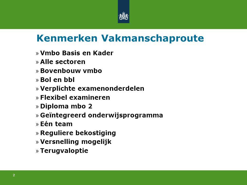 2 Kenmerken Vakmanschaproute » Vmbo Basis en Kader » Alle sectoren » Bovenbouw vmbo » Bol en bbl » Verplichte examenonderdelen » Flexibel examineren »