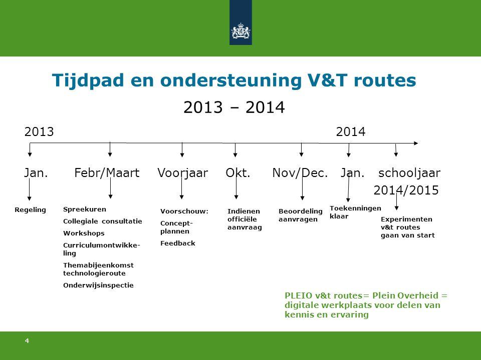 4 Tijdpad en ondersteuning V&T routes 2013 – 2014 2013 2014 Jan. Febr/Maart Voorjaar Okt. Nov/Dec. Jan. schooljaar 2014/2015 PLEIO v&t routes= Plein O