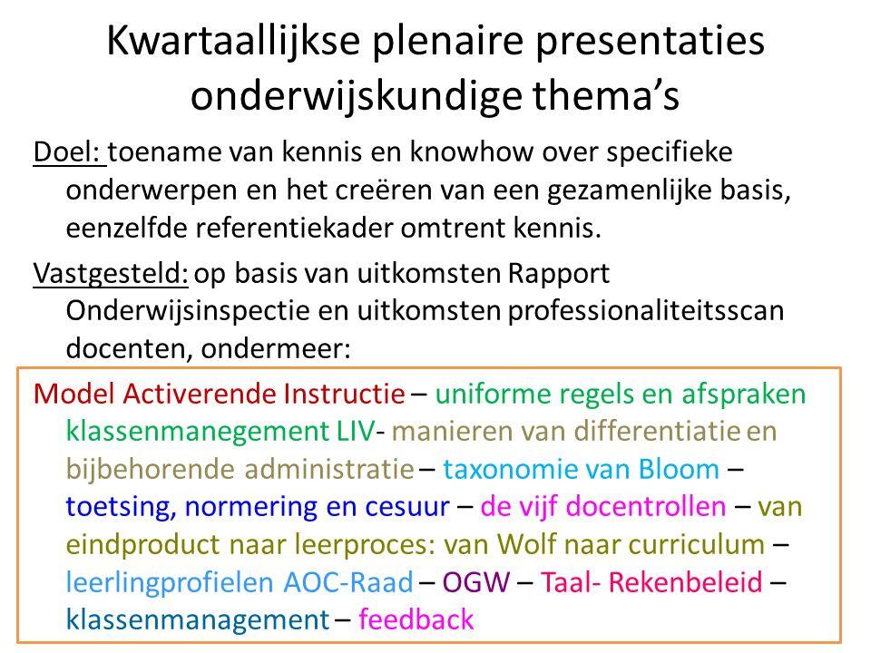 Kwartaallijkse plenaire presentaties onderwijskundige thema's Doel: toename van kennis en knowhow over specifieke onderwerpen en het creëren van een g