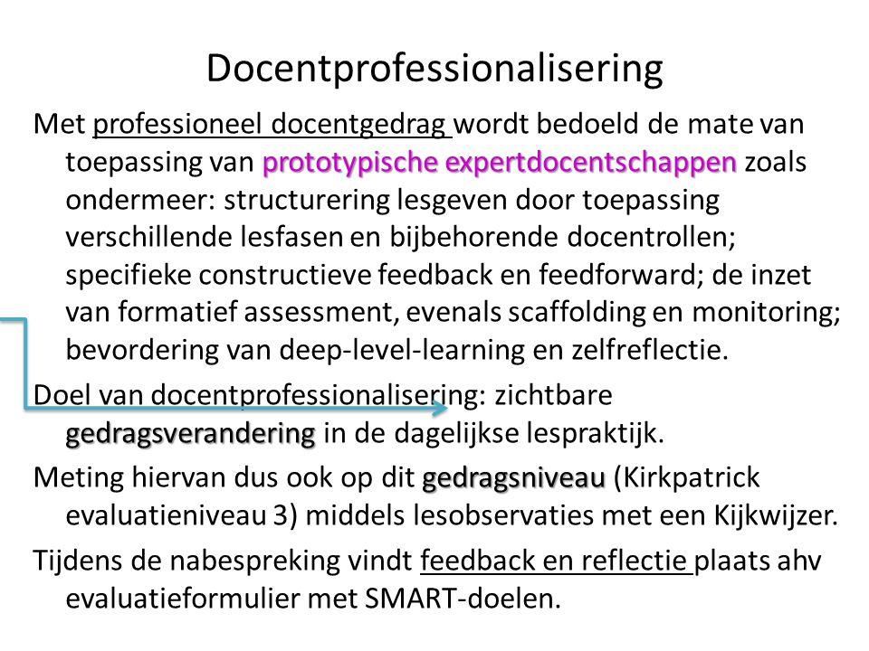 Docentprofessionalisering prototypische expertdocentschappen Met professioneel docentgedrag wordt bedoeld de mate van toepassing van prototypische exp