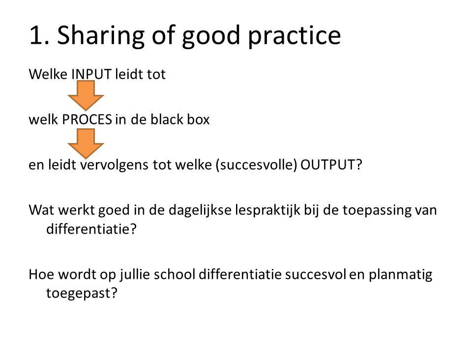 1. Sharing of good practice Welke INPUT leidt tot welk PROCES in de black box en leidt vervolgens tot welke (succesvolle) OUTPUT? Wat werkt goed in de