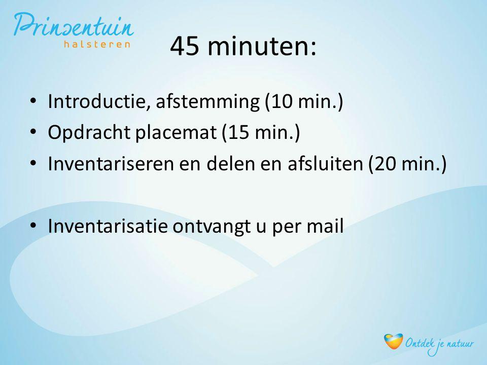 45 minuten: Introductie, afstemming (10 min.) Opdracht placemat (15 min.) Inventariseren en delen en afsluiten (20 min.) Inventarisatie ontvangt u per