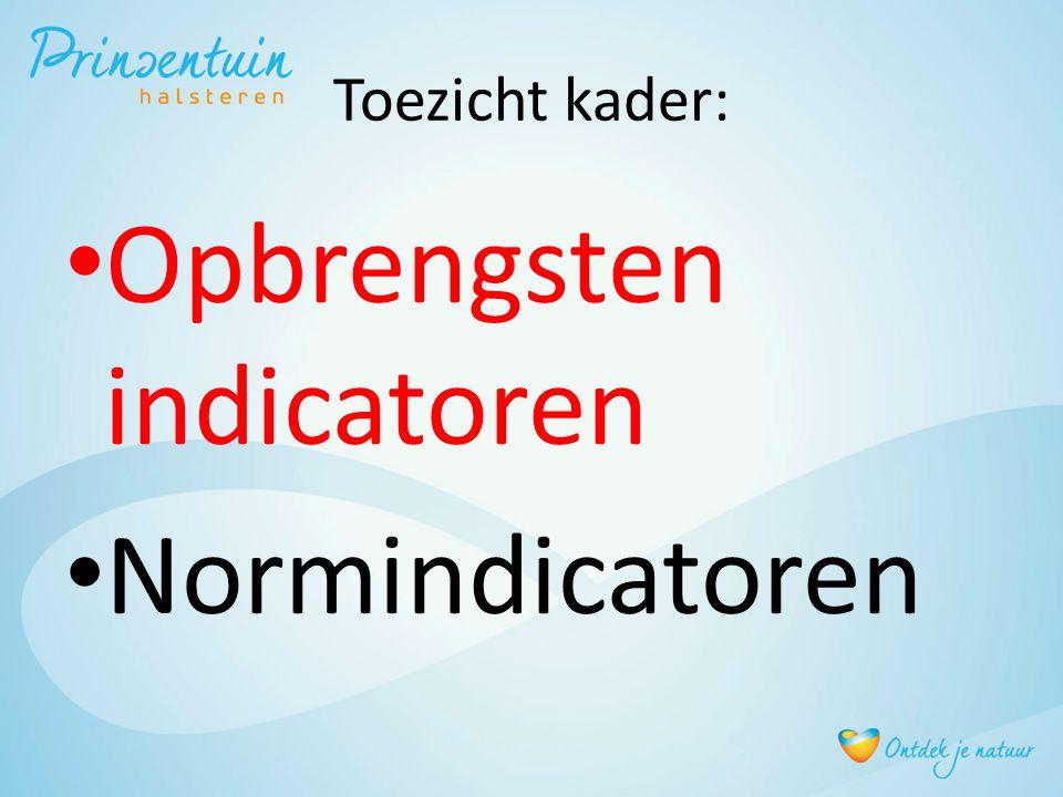 Toezicht kader: Opbrengsten indicatoren Normindicatoren