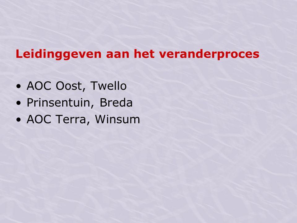 Leidinggeven aan het veranderproces AOC Oost, Twello Prinsentuin, Breda AOC Terra, Winsum