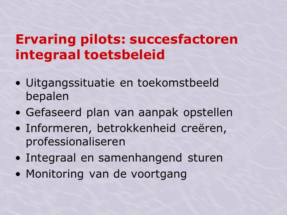 Ervaring pilots: succesfactoren integraal toetsbeleid Uitgangssituatie en toekomstbeeld bepalen Gefaseerd plan van aanpak opstellen Informeren, betrok