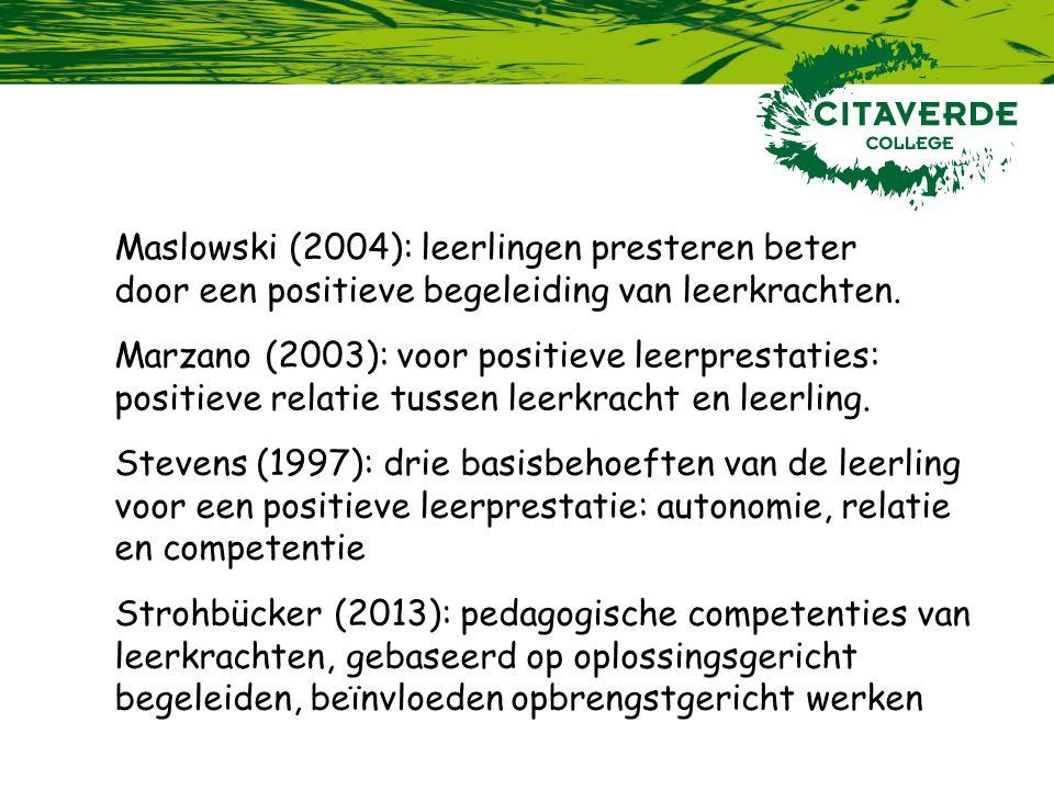 Maslowski (2004): leerlingen presteren beter door een positieve begeleiding van leerkrachten.