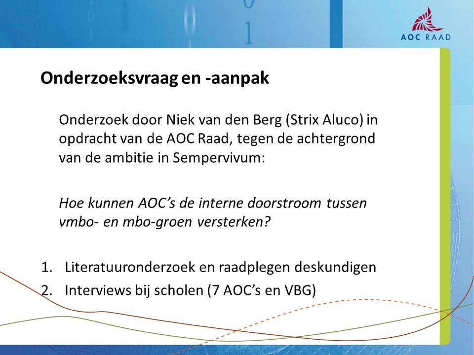 Onderzoek door Niek van den Berg (Strix Aluco) in opdracht van de AOC Raad, tegen de achtergrond van de ambitie in Sempervivum: Hoe kunnen AOC's de interne doorstroom tussen vmbo- en mbo-groen versterken.
