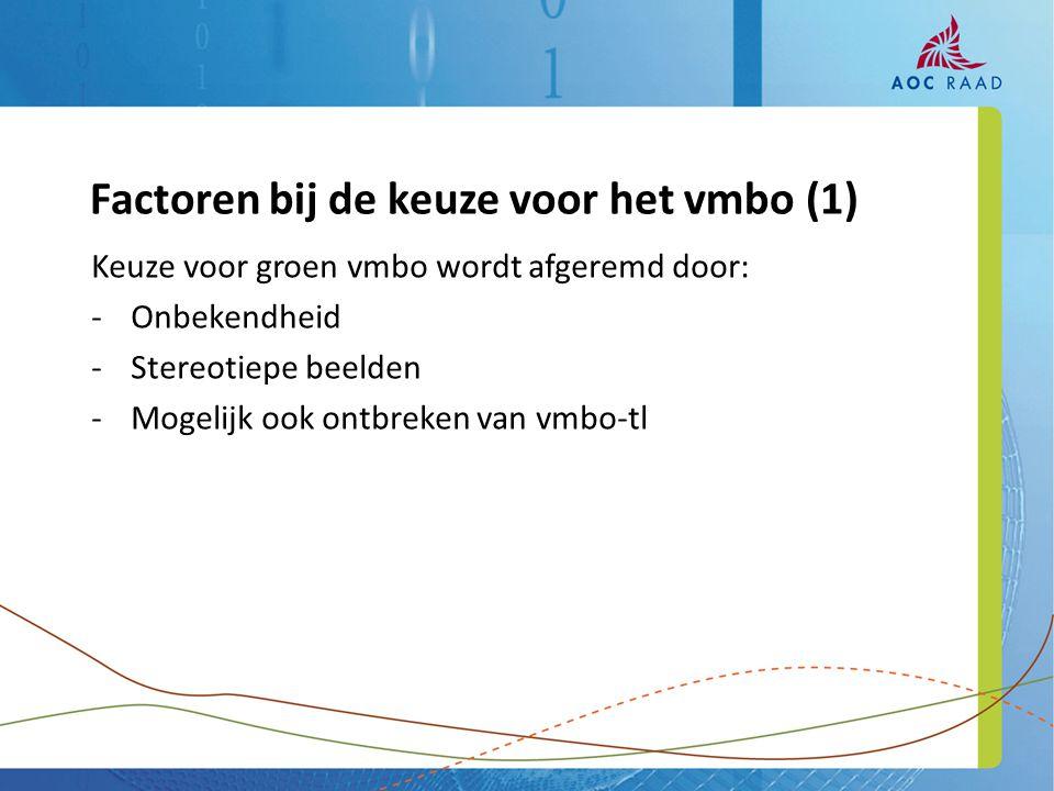 Keuze voor groen vmbo wordt afgeremd door: -Onbekendheid -Stereotiepe beelden -Mogelijk ook ontbreken van vmbo-tl Factoren bij de keuze voor het vmbo (1)