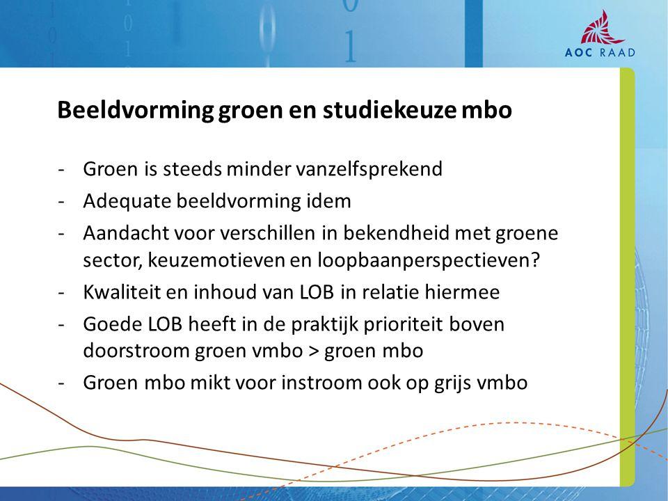 -Groen is steeds minder vanzelfsprekend -Adequate beeldvorming idem -Aandacht voor verschillen in bekendheid met groene sector, keuzemotieven en loopb