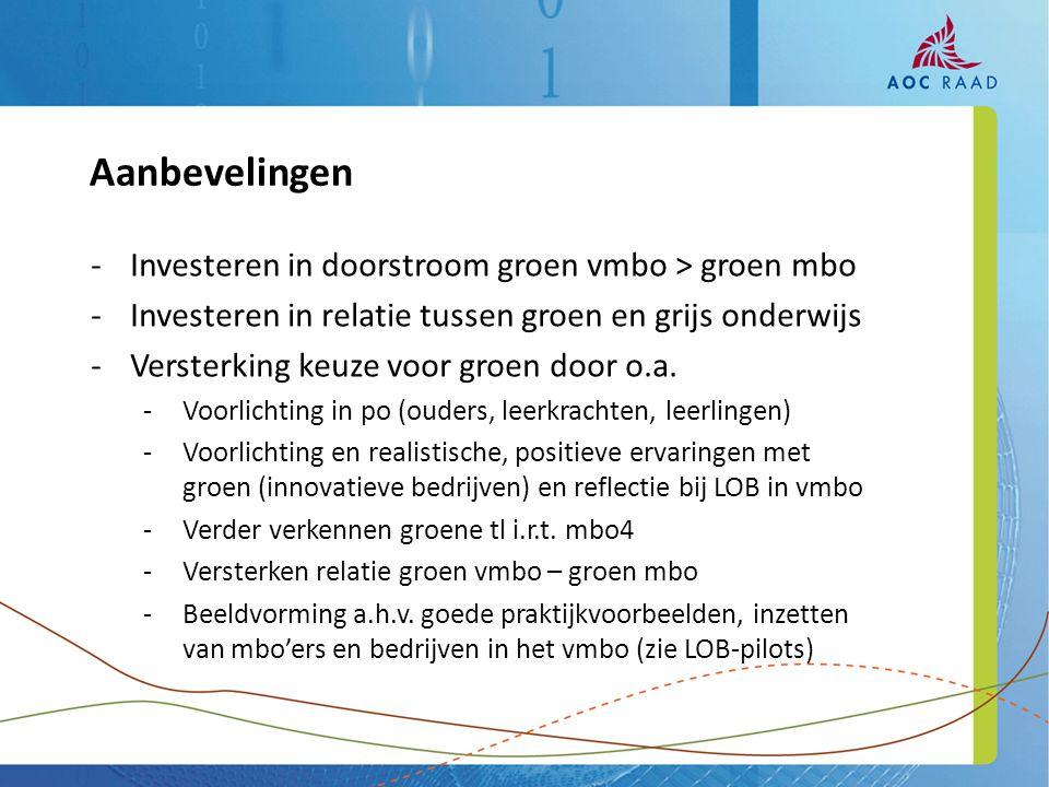 -Investeren in doorstroom groen vmbo > groen mbo -Investeren in relatie tussen groen en grijs onderwijs -Versterking keuze voor groen door o.a.