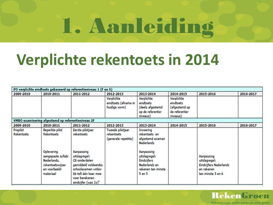RekenGroen Rekenen voor vmbo-groen en mbo-groen 1. Aanleiding Verplichte rekentoets in 2014