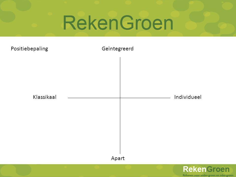 RekenGroen Rekenen voor vmbo-groen en mbo-groen Positiebepaling KlassikaalIndividueel Geïntegreerd Apart