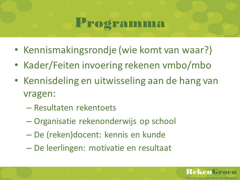 RekenGroen Rekenen voor vmbo-groen en mbo-groen Programma Kennismakingsrondje (wie komt van waar?) Kader/Feiten invoering rekenen vmbo/mbo Kennisdelin