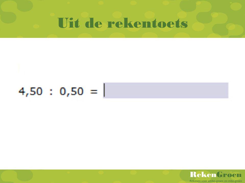 RekenGroen Rekenen voor vmbo-groen en mbo-groen Uit de rekentoets