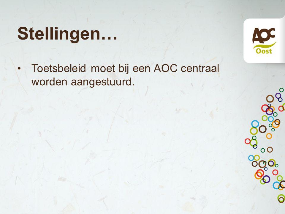 Stellingen… Toetsbeleid moet bij een AOC centraal worden aangestuurd.