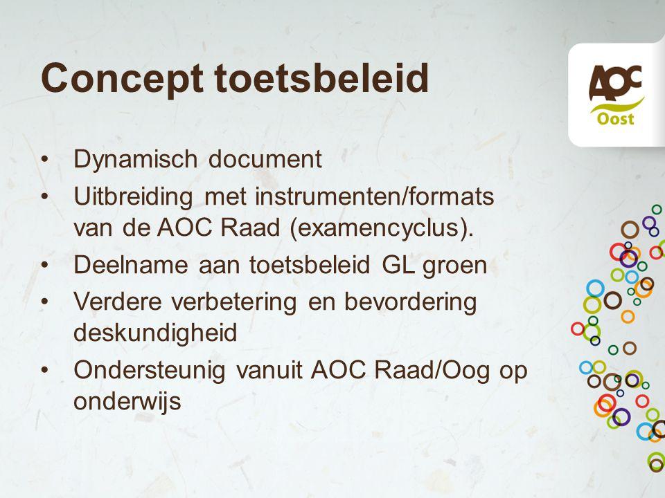 Concept toetsbeleid Dynamisch document Uitbreiding met instrumenten/formats van de AOC Raad (examencyclus). Deelname aan toetsbeleid GL groen Verdere