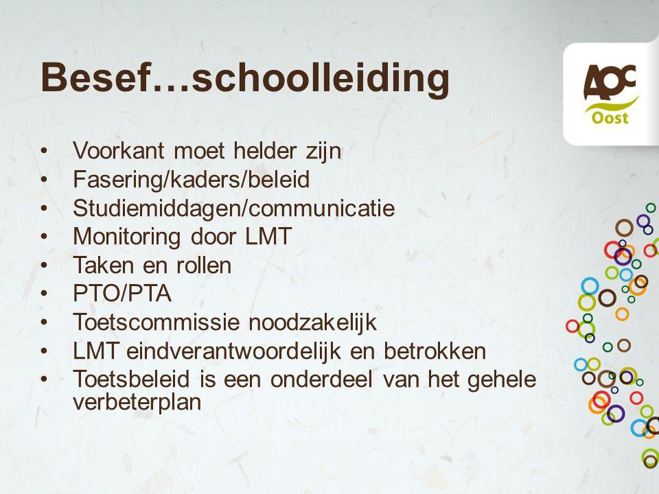 Besef…schoolleiding Voorkant moet helder zijn Fasering/kaders/beleid Studiemiddagen/communicatie Monitoring door LMT Taken en rollen PTO/PTA Toetscomm