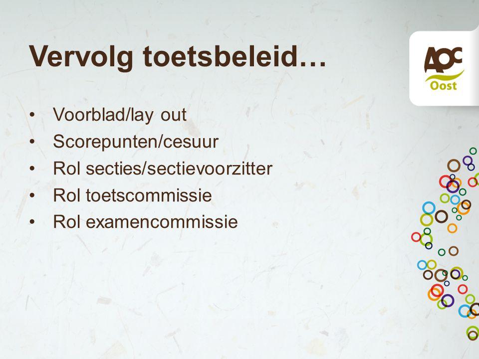 Vervolg toetsbeleid… Voorblad/lay out Scorepunten/cesuur Rol secties/sectievoorzitter Rol toetscommissie Rol examencommissie