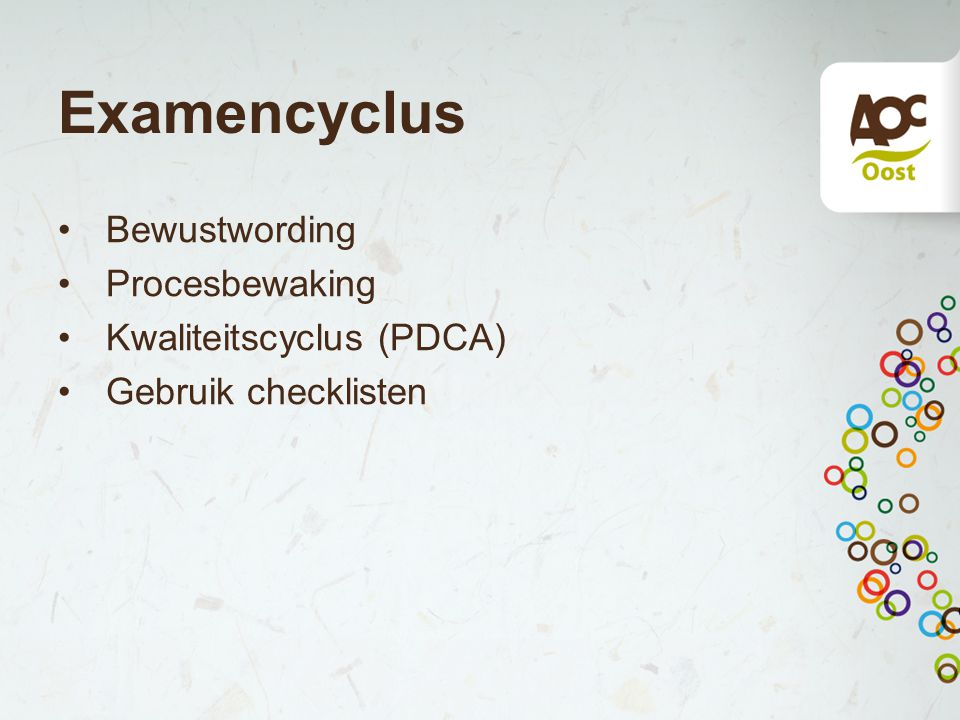 Examencyclus Bewustwording Procesbewaking Kwaliteitscyclus (PDCA) Gebruik checklisten